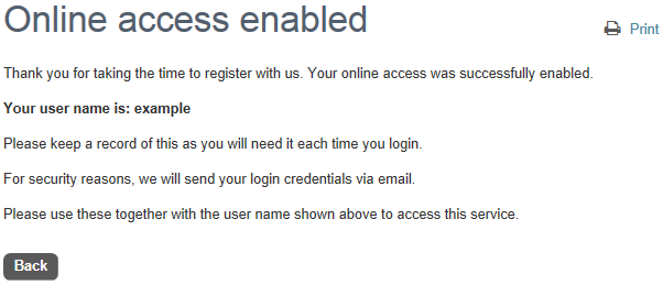 Online access enabled